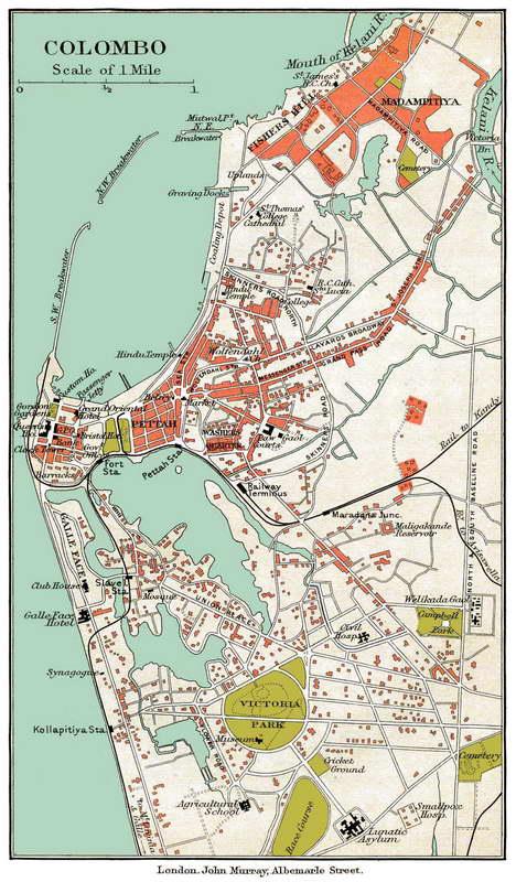 Old map of Colombo Sri Lanka