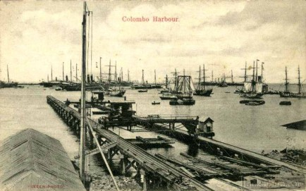 Steamers and sailing ships at Colombo Harbour
