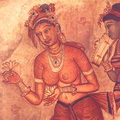5th Century Fresco wall paintings at Sigiriya (Lion Rock)