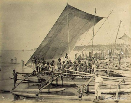 Native fishing catamarans and fishermen ceylon