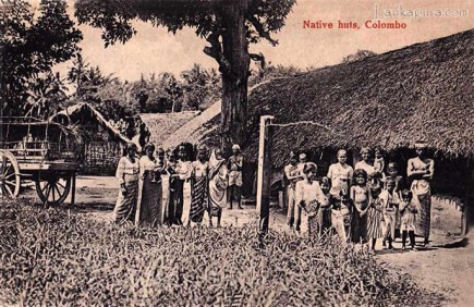 Native huts and villagers near Colombo 1920s