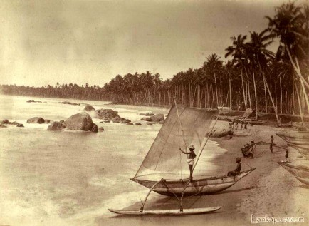 Fishermen and their native fishing boats Ceylon