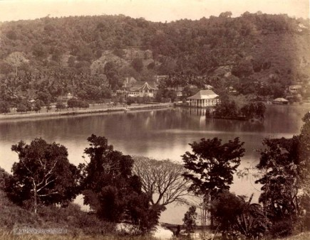 Temple of the tooth across the lake - Kandy c.1870