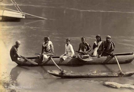 Group of Natives Crossing River