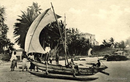 Fishing canoes at Mt. Lavinia beach