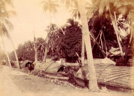 Natives boats on Dutch canal, near Colombo Ceylon 1890