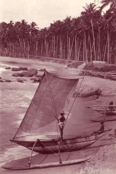 Fisherman Sail Boat near Colombo, Ceylon