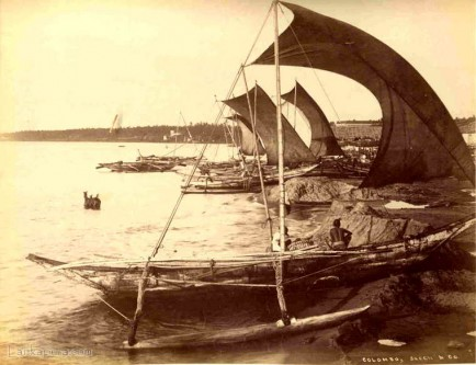 Fishermen and their boats Ceylon 1880