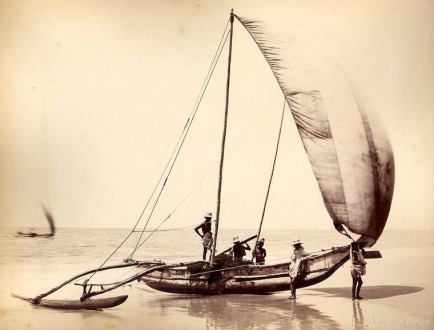 Native fishermen and their Catamaran, Sri Lanka 1890