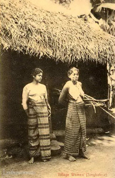 Native village women and their Hut, Ceylon