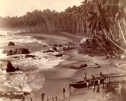 The sea shore at Mount Lavinia, Ceylon 1880 - 1890