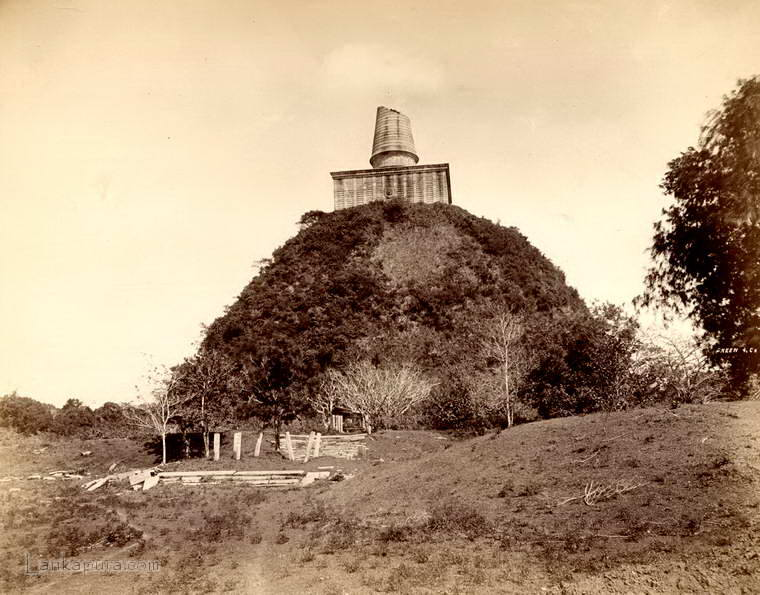 Abhayagiri Dagoba ruined at Anuradhapura, Ceylon