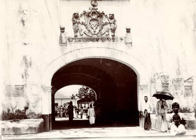 The Dutch gateway and coat of arms in Galle, Ceylon 1903