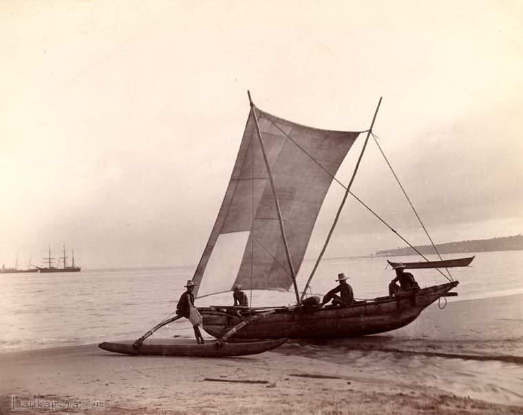 A fishing boat at Mutwall near Kotahena in Colombo, Ceylon 1880 - 1905