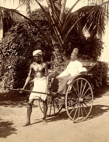 A rickshaw driver & his passenger at Kandy, Ceylon 1880 - 1890