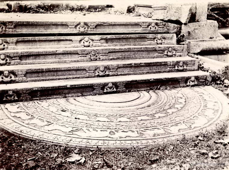 Carved moonstone and steps at Anuradhapura, Ceylon 1903