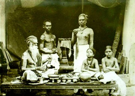 Brahmins at prayer, Ceylon