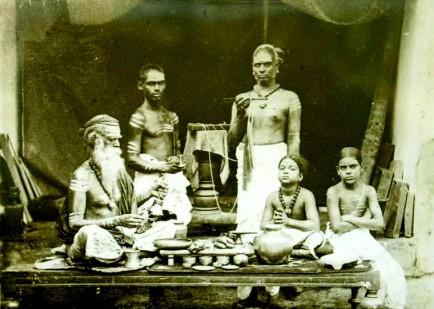 Brahmins at prayer, Ceylon