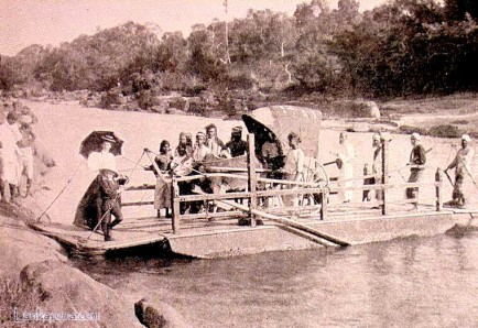 Crossing a river in Ceylon