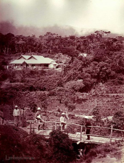 Tea planters & their clubhouse in the central hills of Ceylon 1880