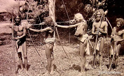 Veddahs with their primitive weapons in Ceylon