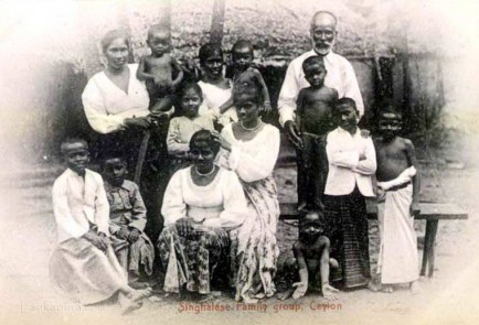 Native Sinhalese family in Sri Lanka early 1900s