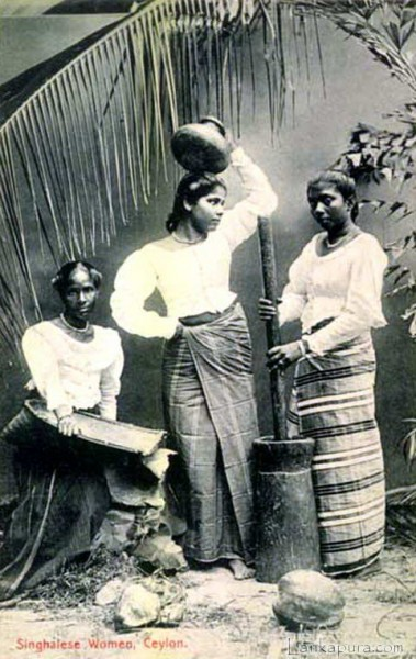 Singhalese Women at Work, Ceylon