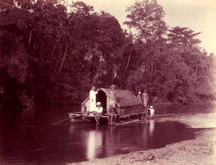 A houseboat on the River Kelani, Ceylon