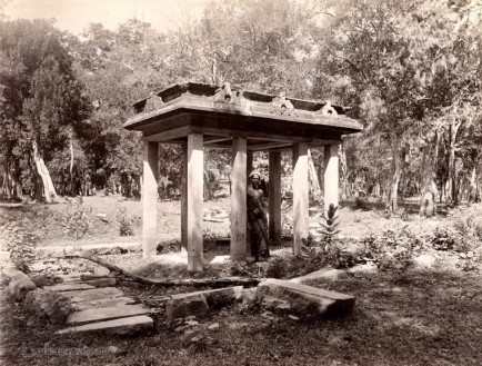 An ancient stone canopy at Anuradhapura, Ceylon 1908-1909