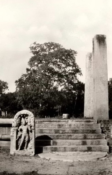 A guard stone part of a ruined Buddhist temple at Anuradhapura, Ceylon 1930-1940