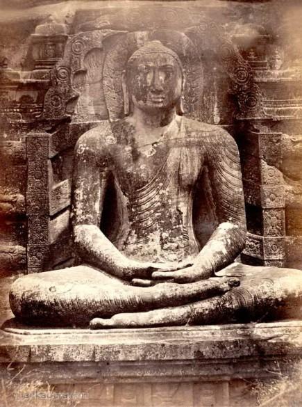 Polonnaruwa Gal Vihara seated Buddha Statue, Ceylon Sri Lanka 1880-1890