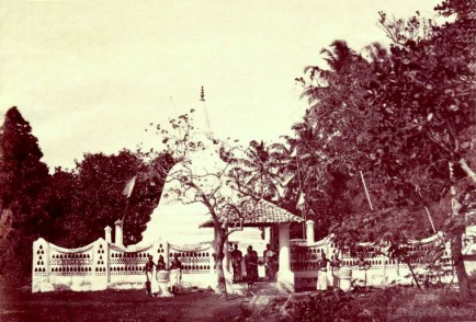 Typical Sri Lankan Buddhist stupa & Monks in 1860