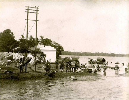 River Bathing Near Colombo, Sri Lanka in Early 1900s