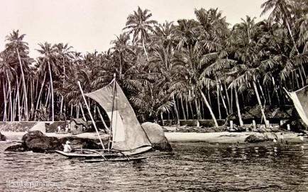 Native canoes used for fishing in Mount Lavinia Ceylon