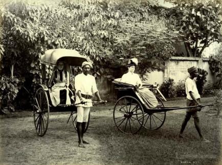 Ladies riding the rickshaws in Ceylon c.1880