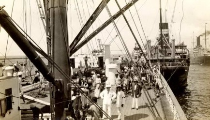 Steamers at Colombo harbour Ceylon 1937