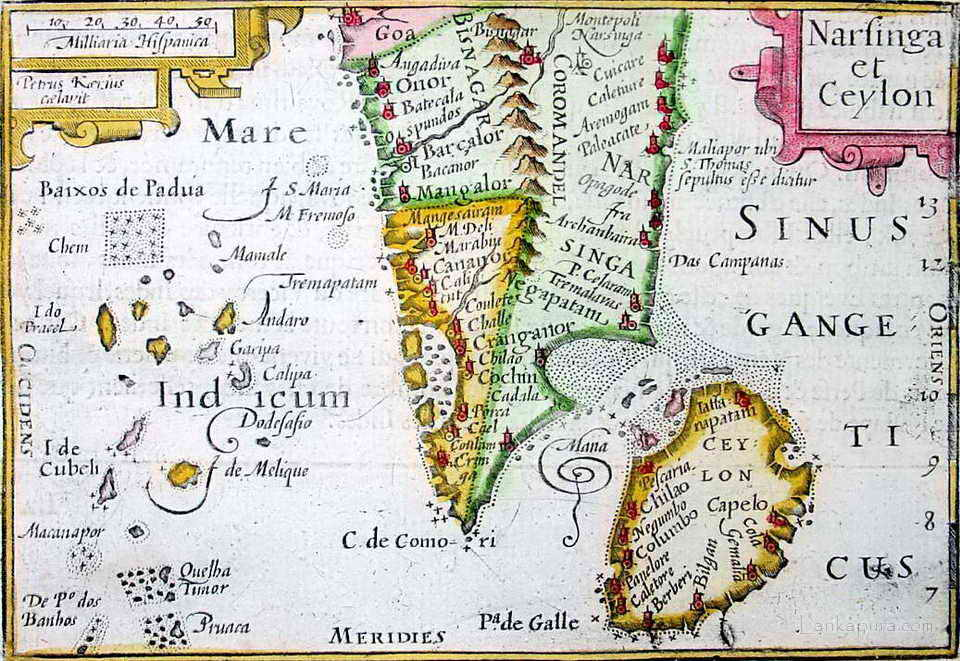 A Bertius map of South India and Sri Lanka