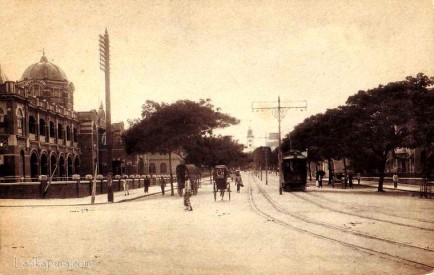 Trams & Bullock carts on Chatham Street Junction