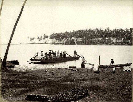 Ferry boat over Negombo lagoon, Ceylon c.1880's