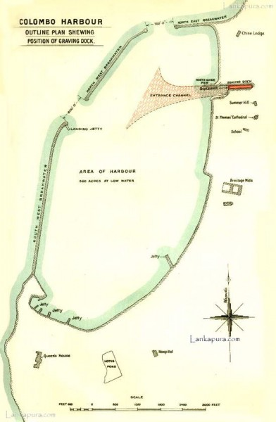 Colombo dockyard and port plan, Ceylon 1909