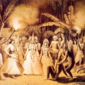 Traditional devil dance ritual in 1800s Sri Lanka