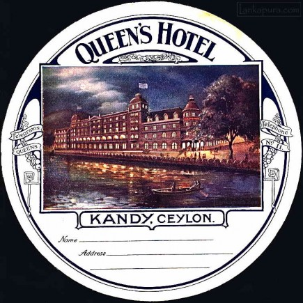 QUEEN'S HOTEL KANDY, LUGGAGE LABEL