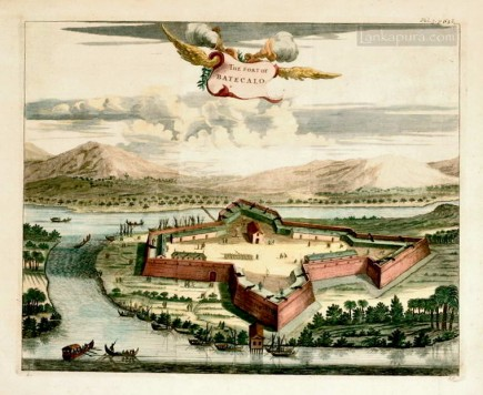 Antique print of Fort Baticalo