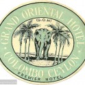 Grand Oriental Hotel, Ceylon luggage label