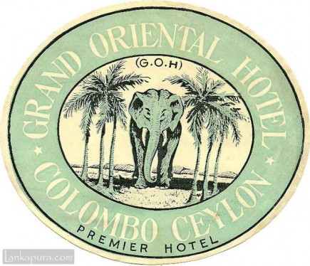 Grand Oriental Hotel luggage label, Ceylon