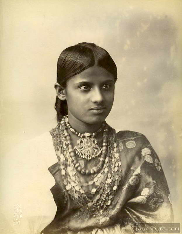 Young Woman Vintage Portrait In Sri Lanka C1880 90s