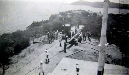 Mounting a naval gun at trincomalee