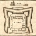 Antique map of Mannar Dutch Fort Sri Lanka 1726